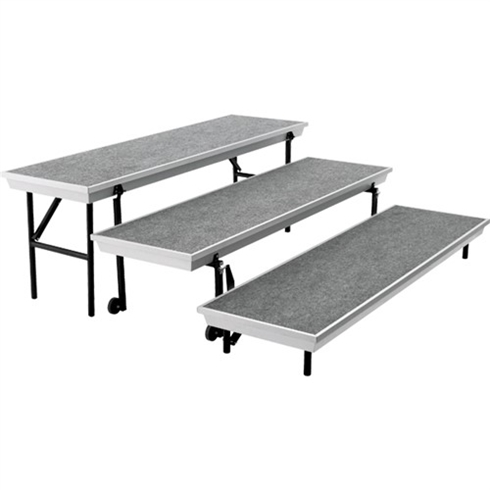 "Transport Straight Choral Risers w/ Carpet Deck - Straight (6' L x 24"" H)"