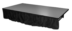 Dual Height Staging - 8' Wide Skirt With Clips ( choose from 3 different heights)