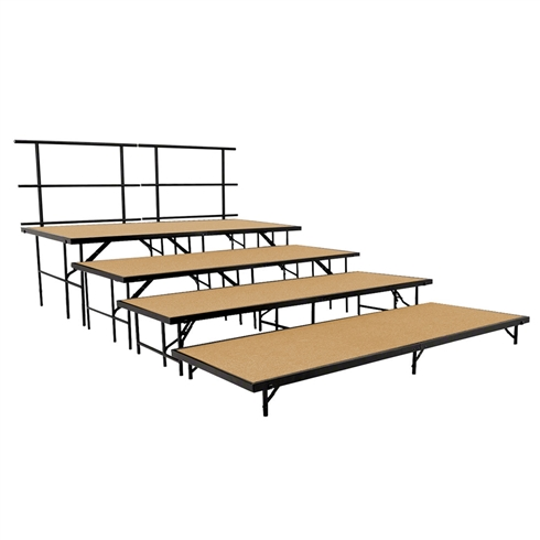 "National Public Seating 4-Tier Seated Riser Straight Stage Section, Hardboard (48"" Deep Tiers)"